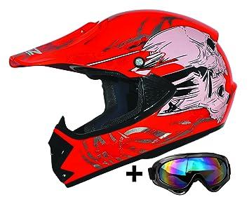 ATO-Helme Moto Kids Pro Niños Casco en color rojo Incluye MX motocicleta gafas