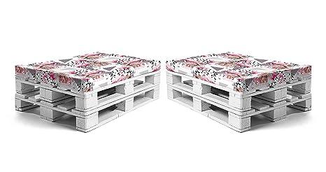 SUENOSZZZ-ESPECIALISTAS DEL DESCANSO Asientos de Jardin para Sofas de palets, 2 Unid. Color flamencos. Espumas enfundadas para palets de Jardin