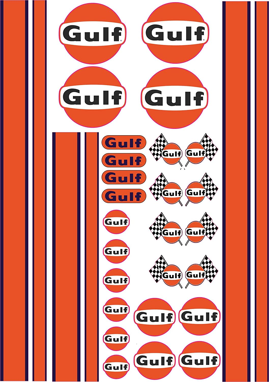 110 Gulf Racing Style Decals Stickers 1 X A4 Sheet Racing