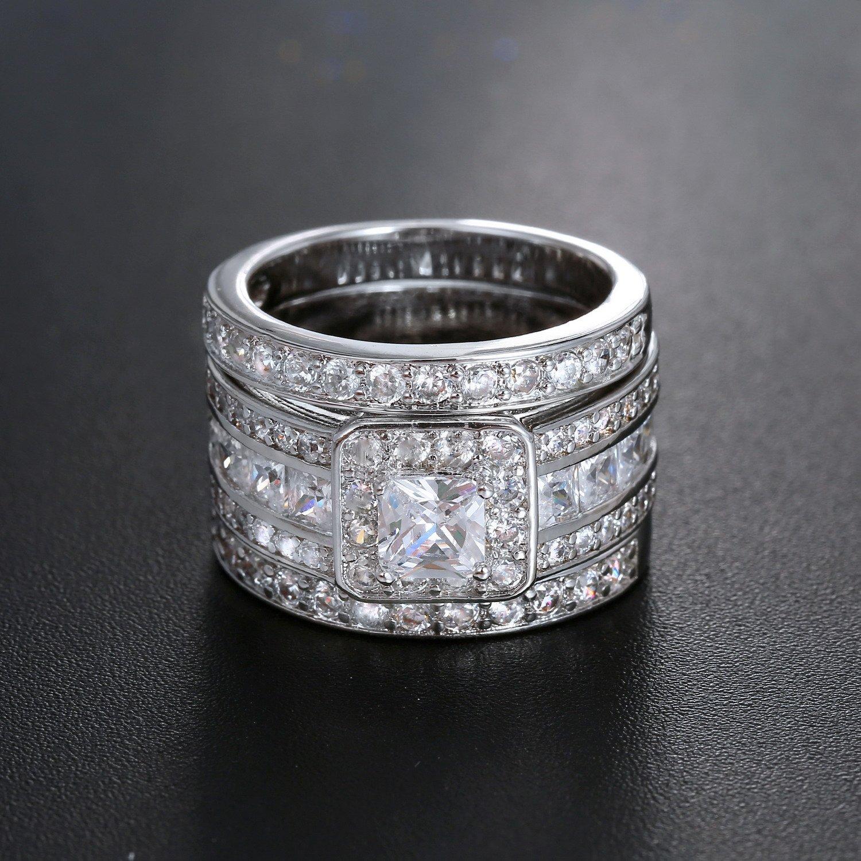 Hiyong Princess Cut Wedding Rings Set Square Cluster CZ Enhancer Guard 3pcs Halo Bridal Bands Size 5-11