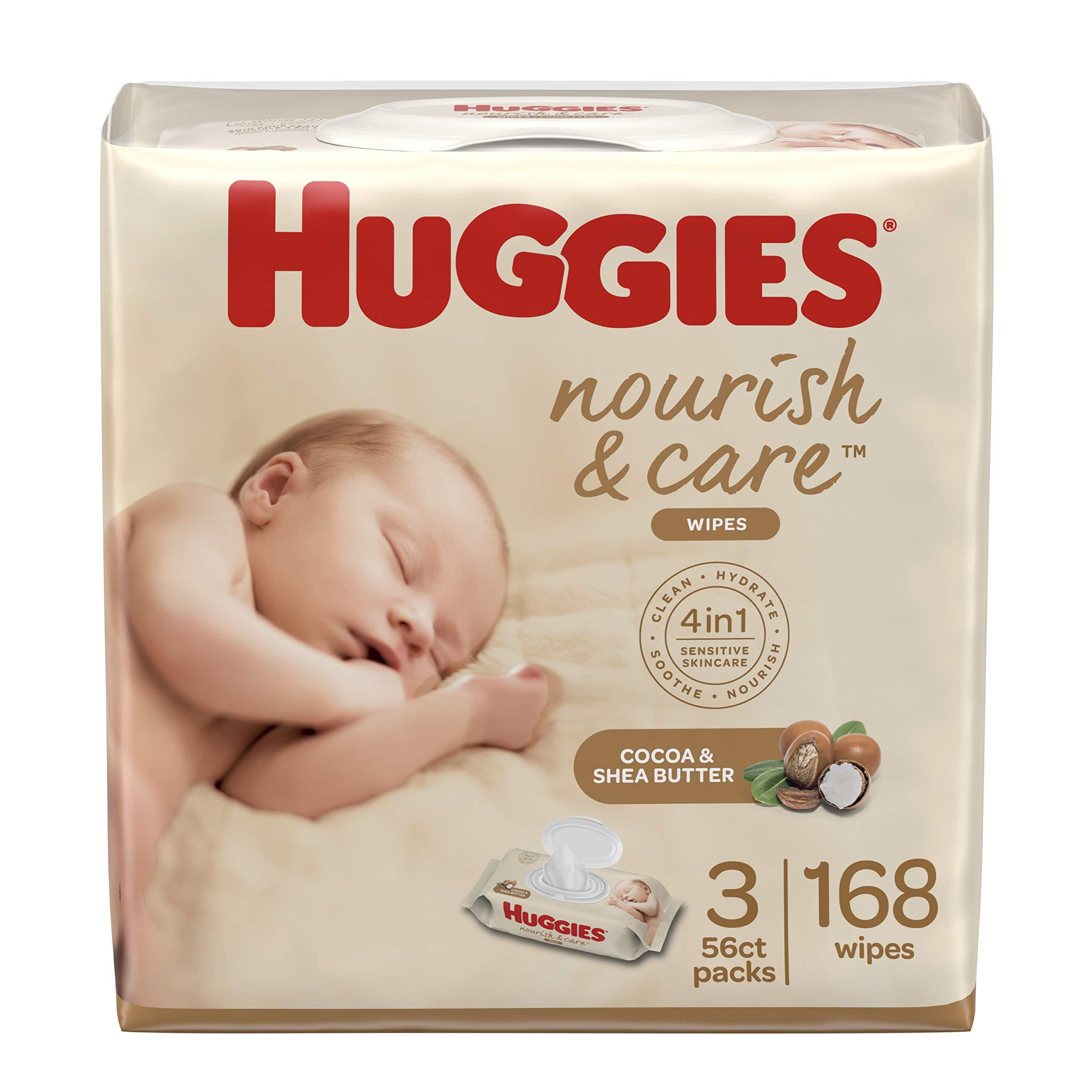 Huggies Nourish & Care Scented Baby Wipes, 3 Flip-Top Packs (168 Wipes Total)