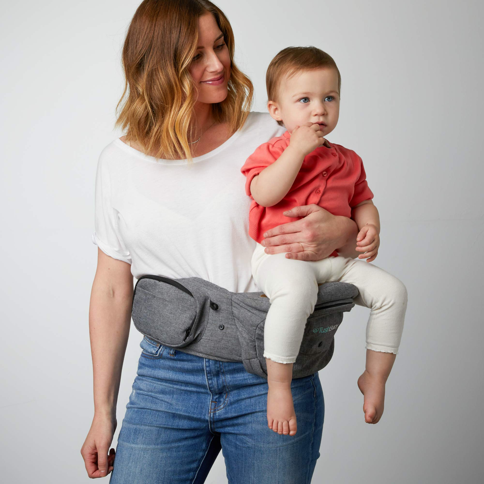 TushBaby The Original Hip Seat Baby Carrier, Grey by TushBaby (Image #10)