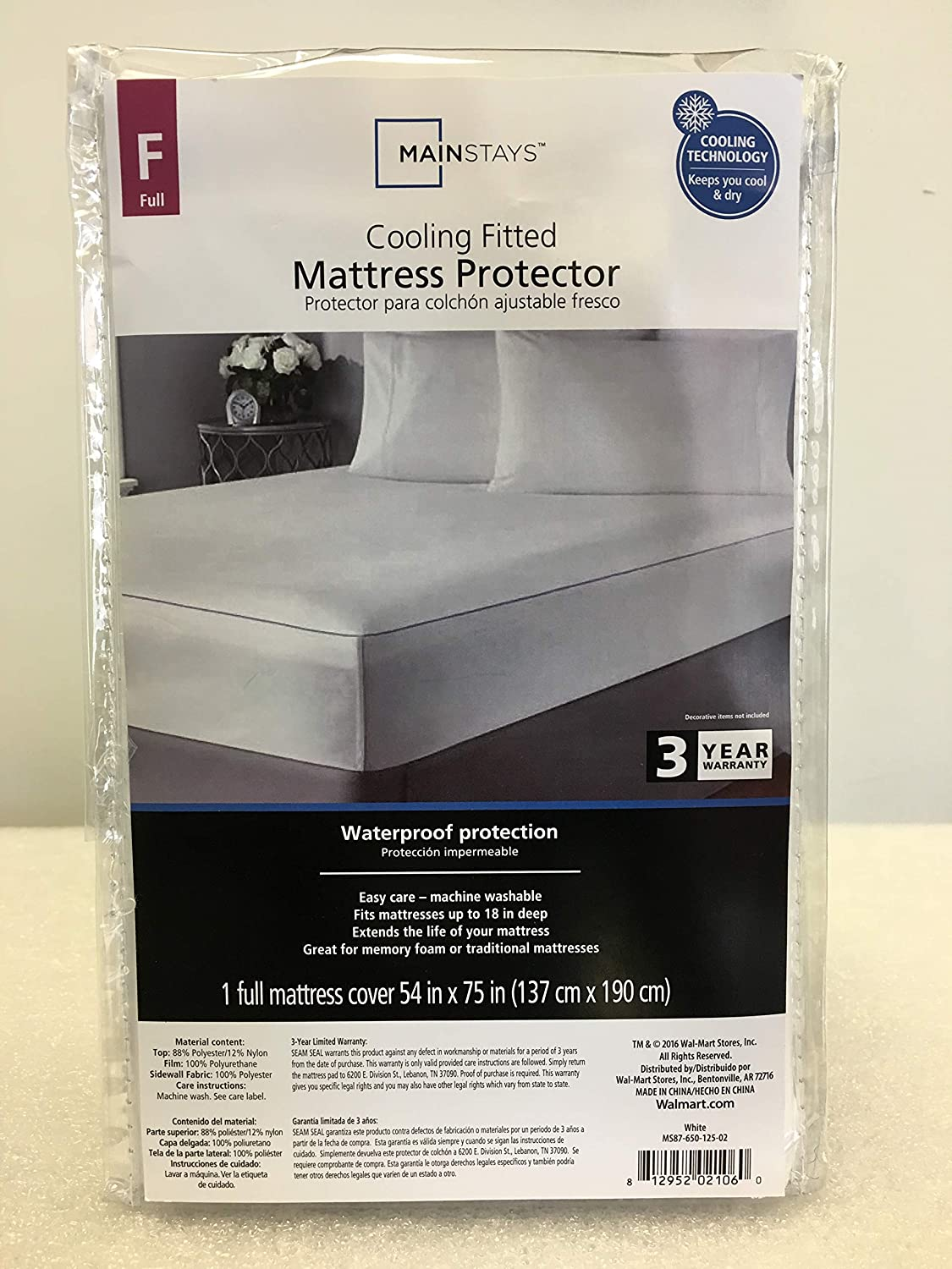 Mainstay Cooling Fitted Mattress Protector Full