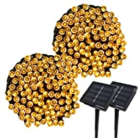 Yasolote Solar Garden Lights, Waterproof Fairy Lights, 72ft 20m 200 LED 8 Twinkling Modes, Decorative Outdoor String Lights for Gazebo, Patio, Lawn, Yard, Fence, Wedding Ornament (Warm White, 2 Packs)