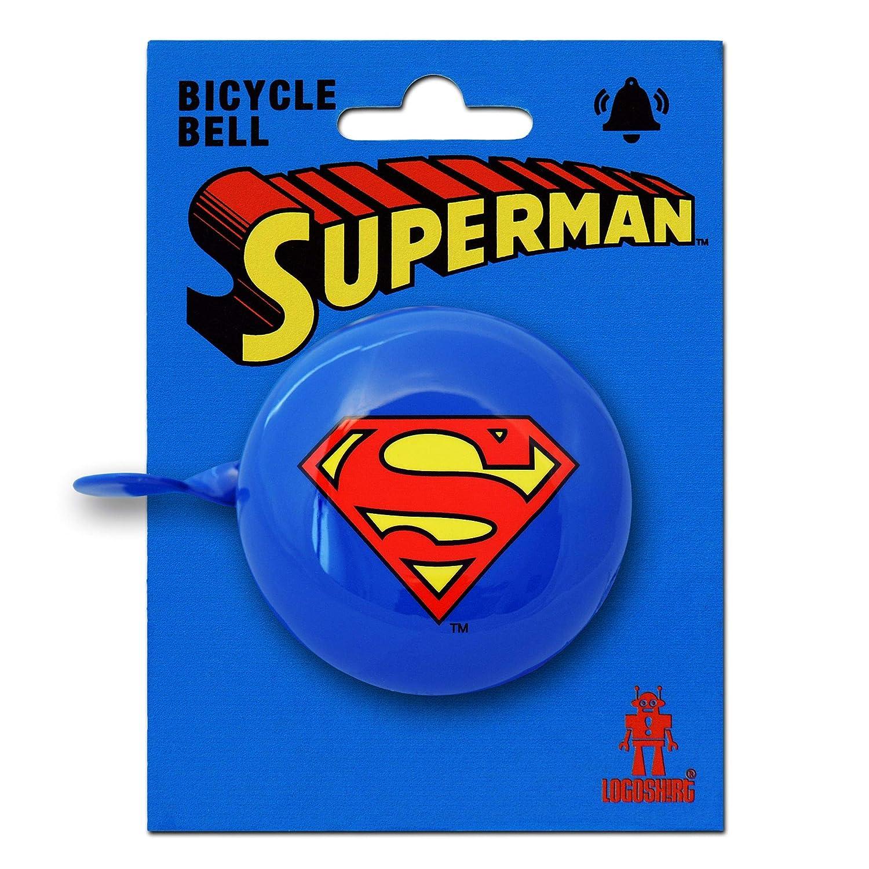 DC Comics Design Originale Concesso su Licenza Logoshirt Superman Logo Campanello Bici Vintage Superman Blu
