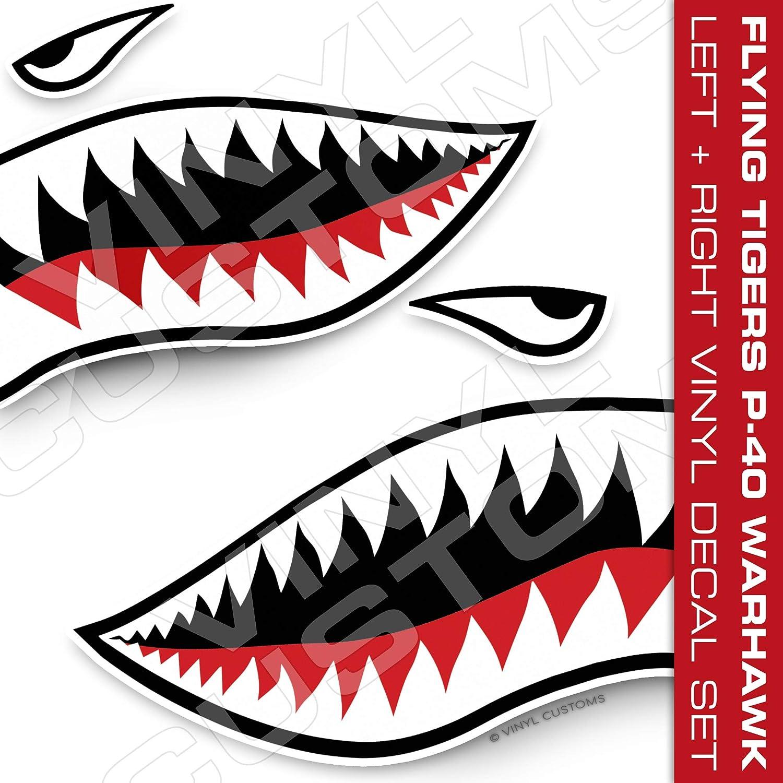"5/"" in. Flying Tigers Shark Teeth Vinyl Decal Stickers v2 P-40 Warhawk 1 Pair"