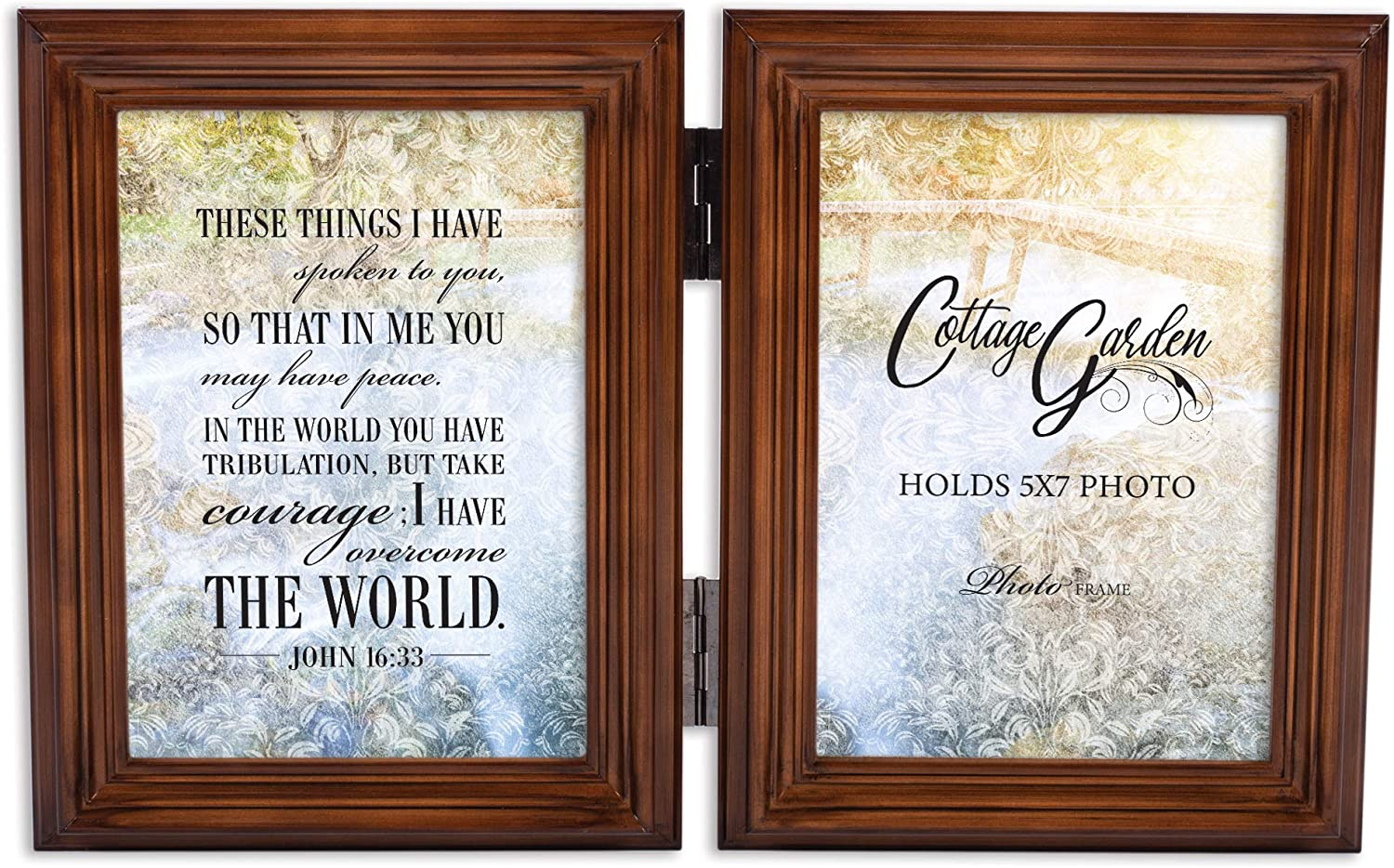 Cottage Garden in Me Have Peace Caramel Brown 5 x 7 Wood Hinged Double Tabletop Photo Frame