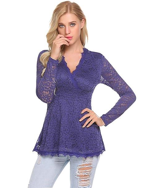 aa51d0832939 Imposes Damen Langarmshirt V Ausschnitt Spitzenshirt Empire-Taille Tunika  Bluse Aus Floraler Spitze  Amazon.de  Bekleidung