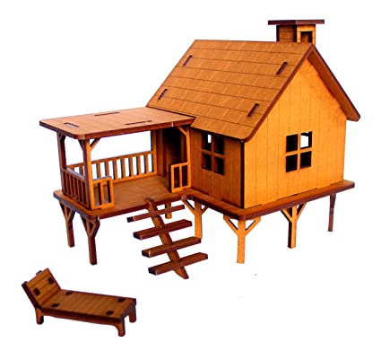 Stonkraft Wooden 3d Puzzle Beach House Home Decor Construction Toy Modeling Kit School Project Easy To Assemble