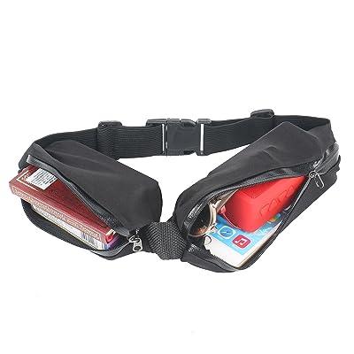 2–tECH doppelsportgürteltasche avec compartiment supplémentaire pour ranger les clés idéal pour le jogging noir pour téléphone portable