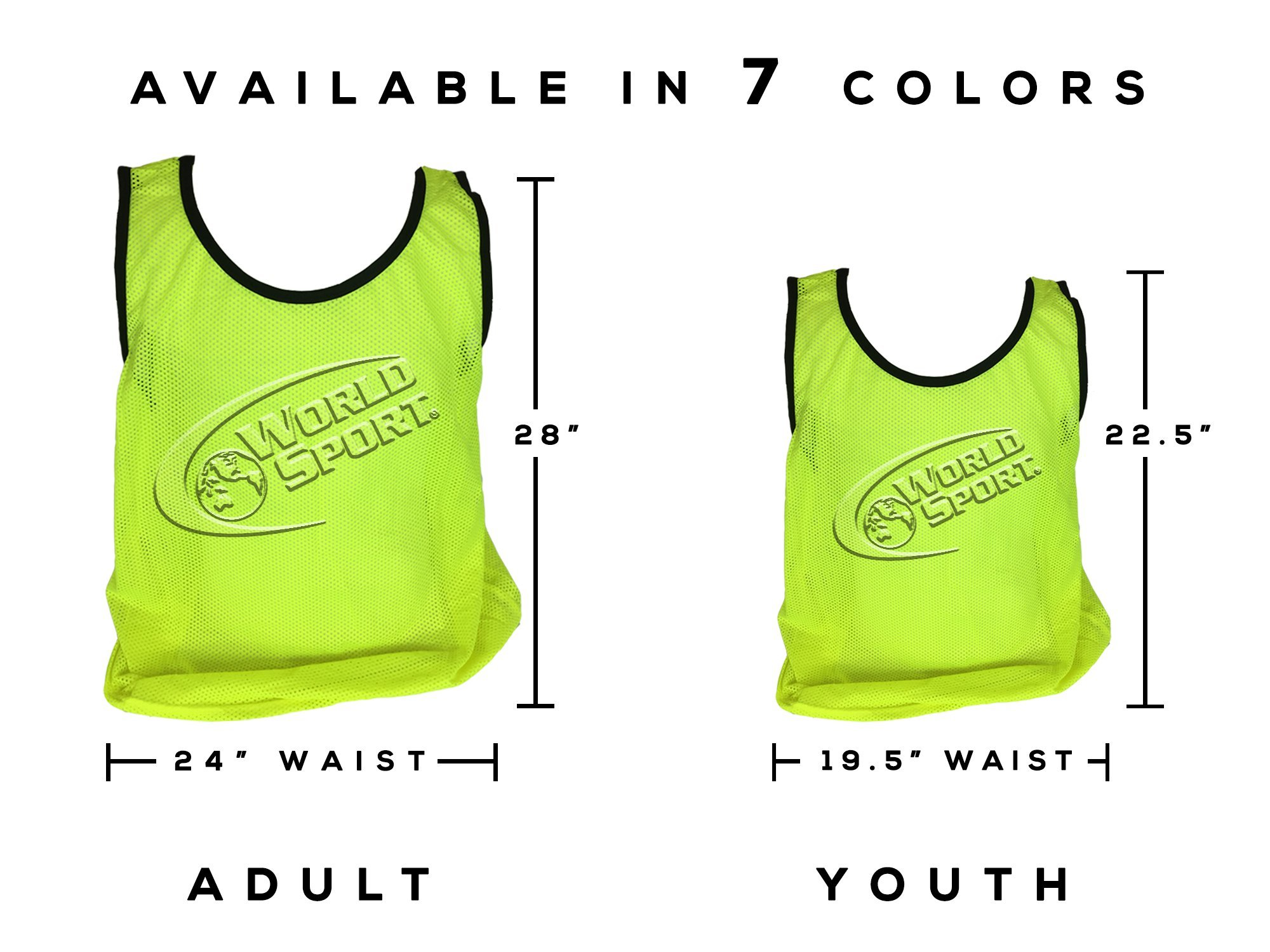 World Sport 12 Pack Youth YELLOW Scrimmage Vests with Carry Bag by by World Sport (Image #4)