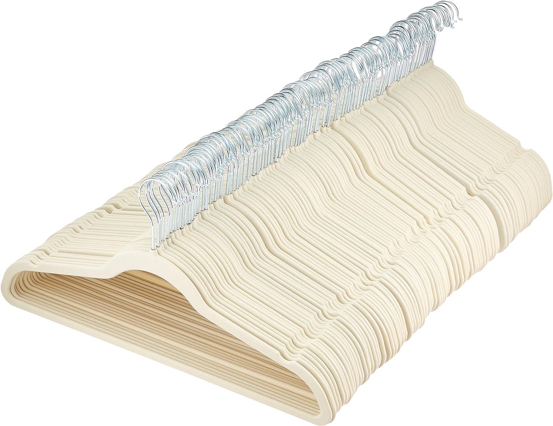 AmazonBasics - Perchas de terciopelo para trajes - Paquete de 100, Marfil