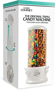 Handy Gourmet The Original Triple Candy Machine - Fun Candy & Nut Dispenser - New & Improved (Pearl White)
