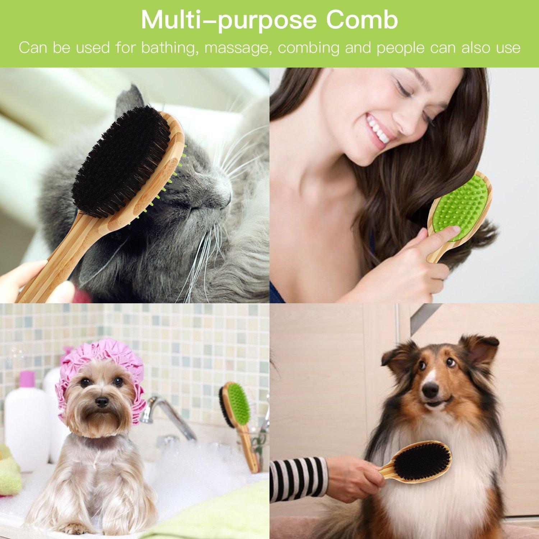 Pecute Hundebürste Massage Katzenbürste Badebürste für Hunde Katzen Langhaar Kurzhaar