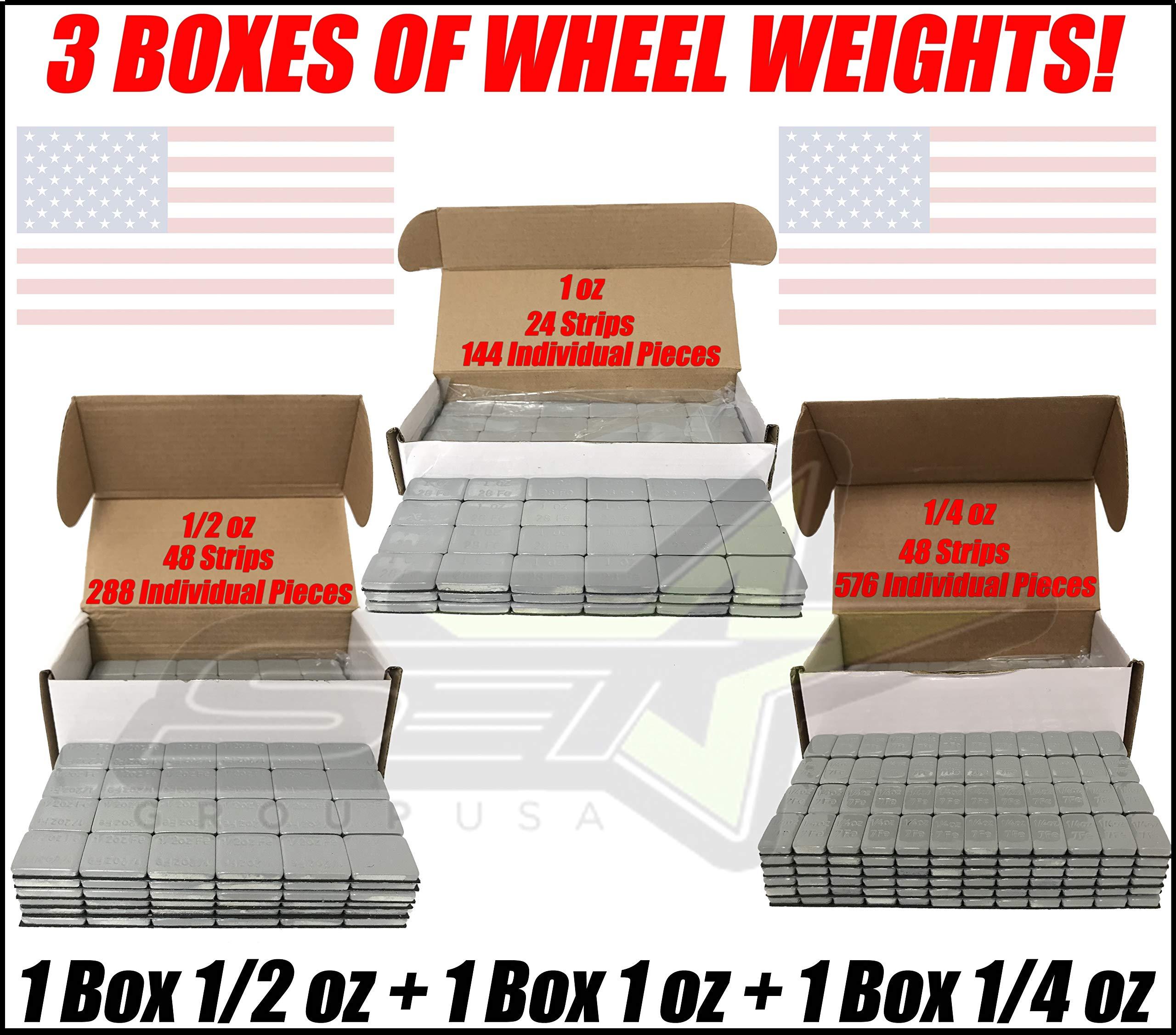 SET Group USA 3 Boxes of Wheel Weights 1/4oz + 1/2oz + 1oz Stick-On Adhesive Tape Total 27 LB (432oz) by SET Group USA