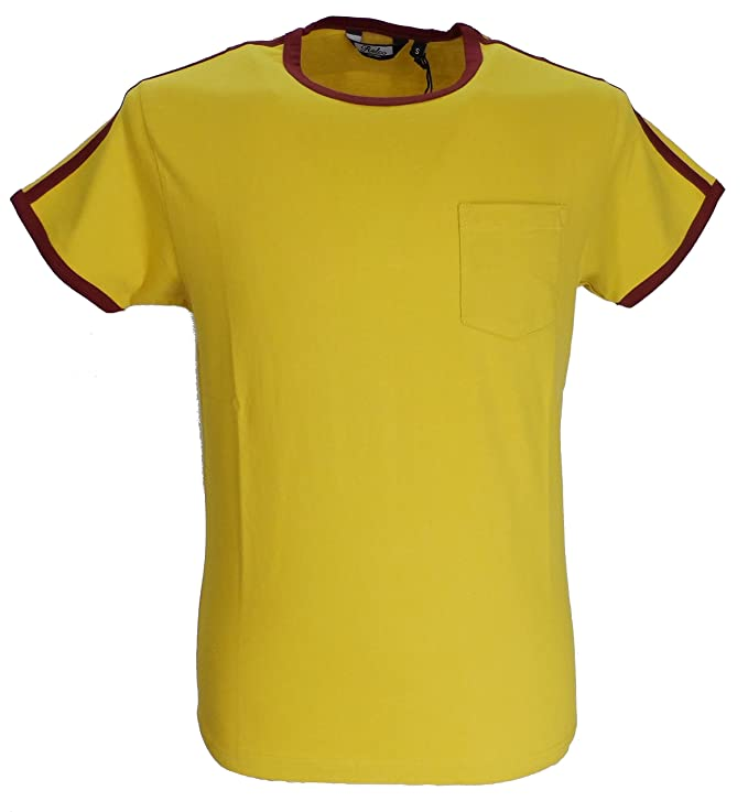 1960s – 70s Mens Shirts- Disco Shirts, Hippie Shirts Relco Mens Mustard Retro Ringer T Shirts £12.99 AT vintagedancer.com