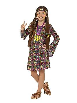 gran descuento mejor amado discapacidades estructurales Smiffy 's 49738 M disfraz de hippie, con vestido, niñas, multicolor,  mediano, UK 7 – 9