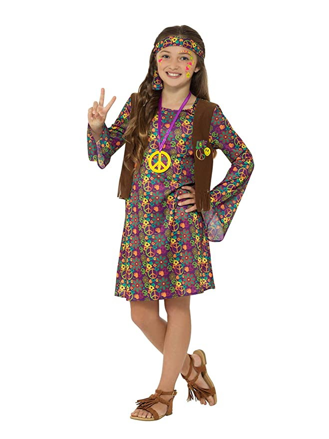 60s 70s Kids Costumes & Clothing Girls & Boys Smiffys Girls 1960s Hippie Costume $27.64 AT vintagedancer.com