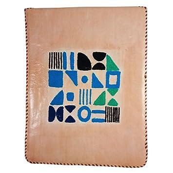 7c36a8d01d5 Funda de Piel auténtica Bordada a Mano para Apple iPad y Organizador de  Viaje con Solapa
