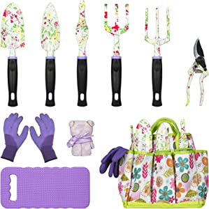 JUMPHIGH Gardening Tool Set, 10 PCS Heavy Duty Aluminum Garden Kit Floral Gardening Gifts for Women, Garden Hand Tools with Non-Slip Rubber Handle, Kneeling Pad, Garden Gloves and Storage Tote Bag