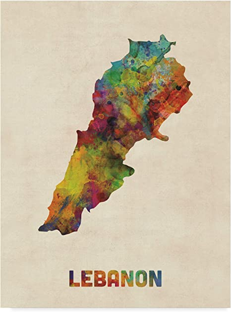 Trademark Fine Art Lebanon Watercolor Map By Michael Tompsett 14x19 Posters Prints