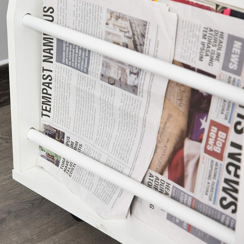 Cassetti e Porta Riviste 60x40x80-90cm Bianco homcom Comodino Regolabile in Altezza Tavolino Divano con Piano Girevole
