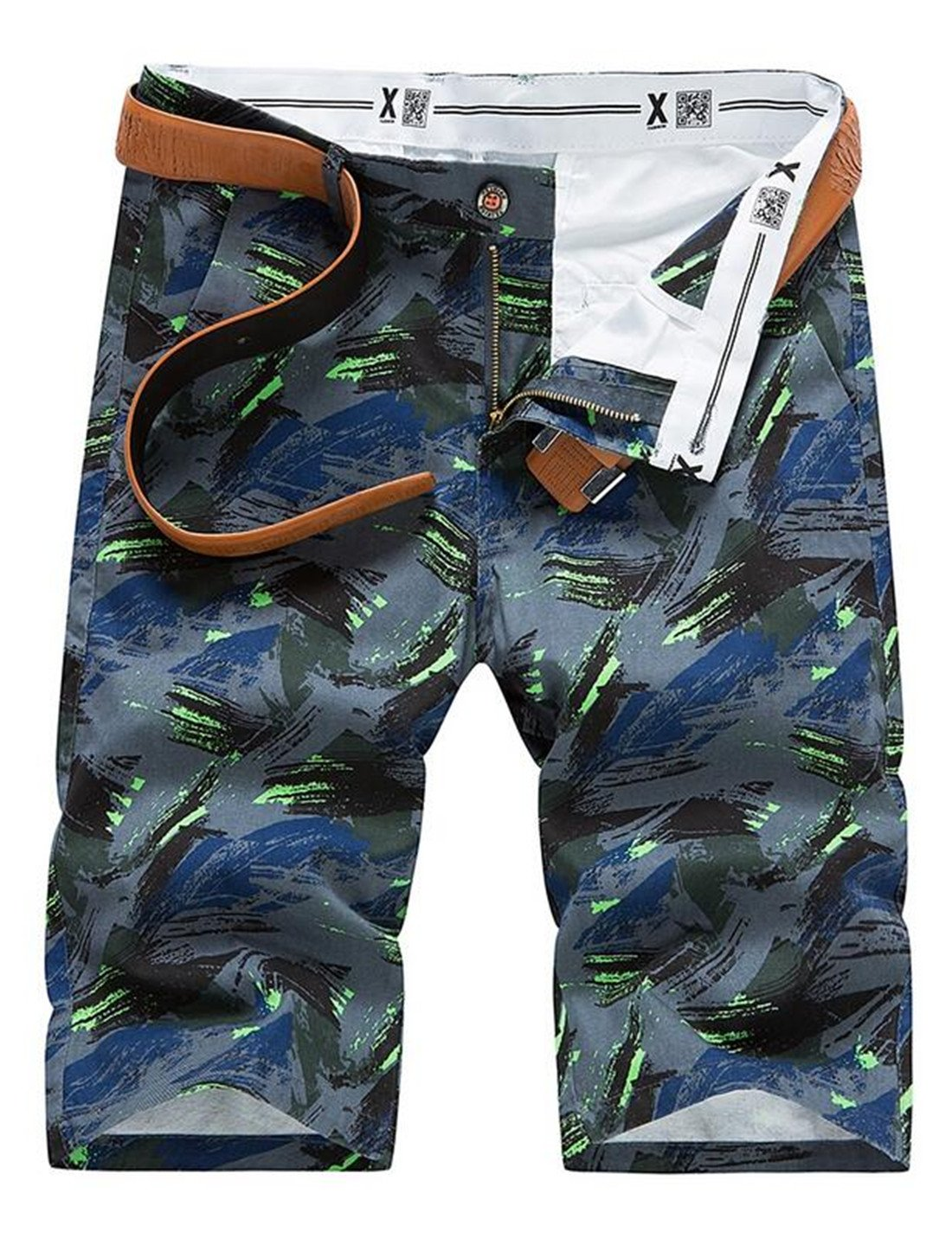 BLTR Men Cotton Camouflage Slim Fit Flat Front Beach Shorts Grey 29