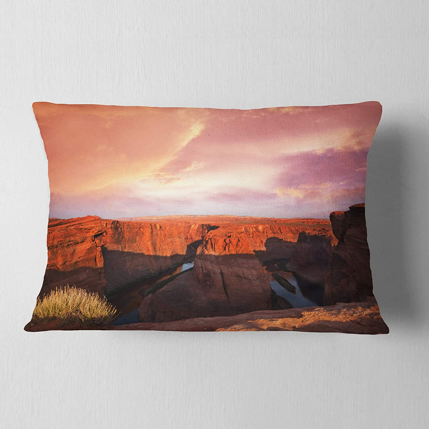 Designart CU12533-12-20 Horse Shoe Bend Under Cloudy Sky' Landscape Printed Lumbar Cushion Cover for Living Room, Sofa Throw Pillow 12 in. x 20 in. in, Insert Side