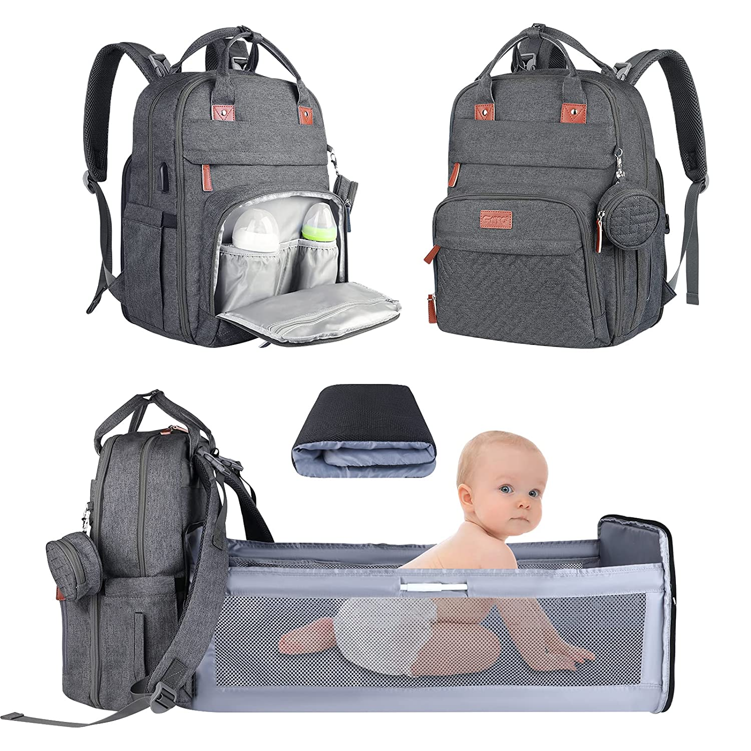 Diaper Bag Backpack,3 in 1 Baby Diaper Bag with Changing Station,Travel Foldable Baby Bed,Multi-Function Large-Capacity Baby Bags for Girls and Boys