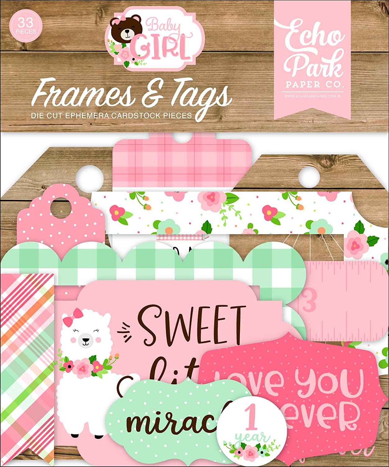 Echo Park Paper Company Baby Girl Frames & Tags ephemera, pink, yellow, green, blue
