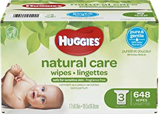Huggies Natural Care Unscented Baby Wipes, Sensitive, Hypoallergenic, Water-Based, 3 Refill Packs, 648 Count Total