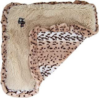 """product image for Bessie & Barnie Luxury Ultra Plush Aspen Snow Leopard Blondie Pet Blanket for Dogs, 36"""" x 36"""", Large, White / Brown"""