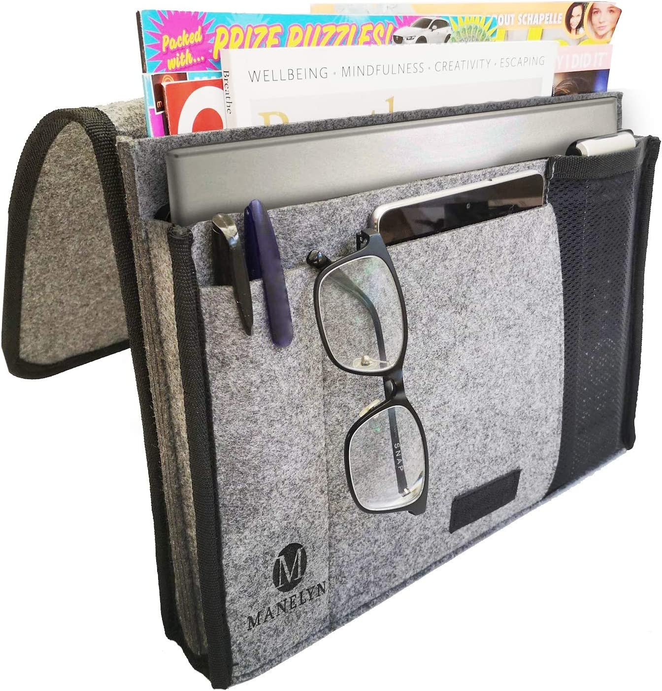 Manelyn Bedside Caddy - 5 Pocket Bedside Storage Organizer and Remote Control Holder Locks Securely for Bed, Sofa, Bunk Bed, Stores Laptop, Magazine, Phone, Tablet