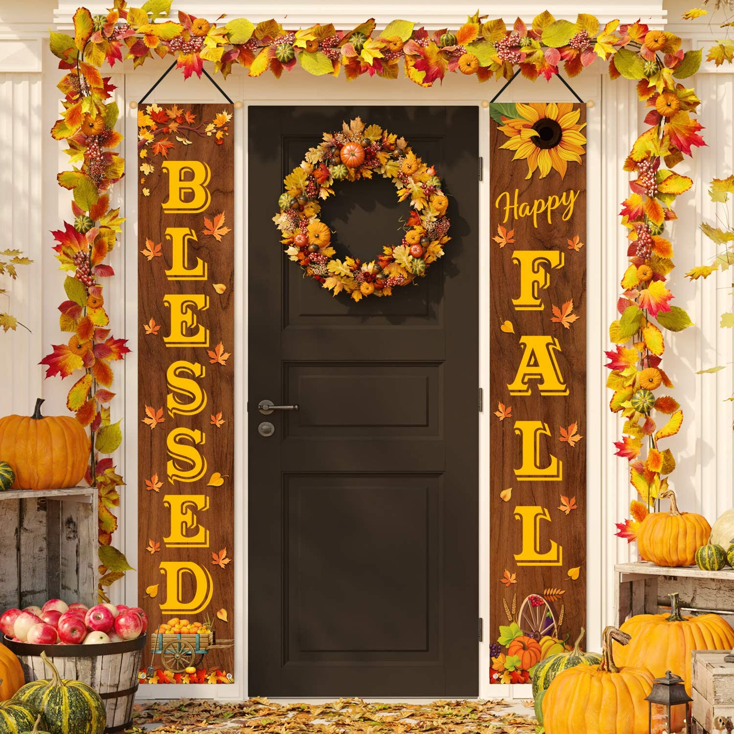 Whaline Fall Harvest Hanging Banner Happy Fall Blessed Porch Sign Rustic Autumn Sunflower Pumpkin Maple Leaves Door Sign For Indoor Outdoor Home Farmhouse Yard Harvest Thanksgiving Party Decor Arts Crafts