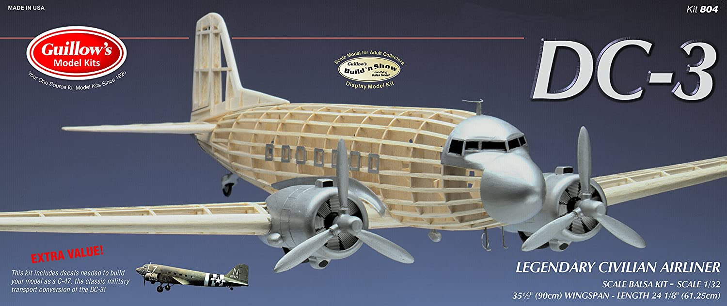 GUILLOW's Douglas DC-3 804 Balsa Display Model Kit