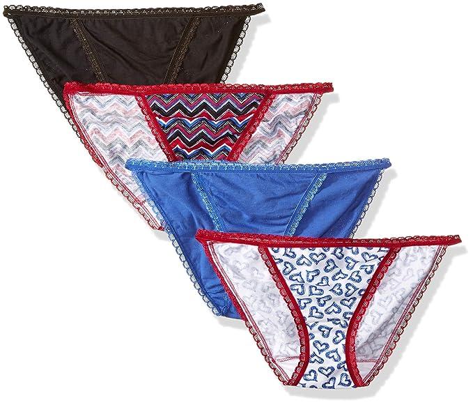 68480aa9fddb Fruit of the Loom Women's 4-Pack Cotton Fashion String Bikini Panties,  Assorted,