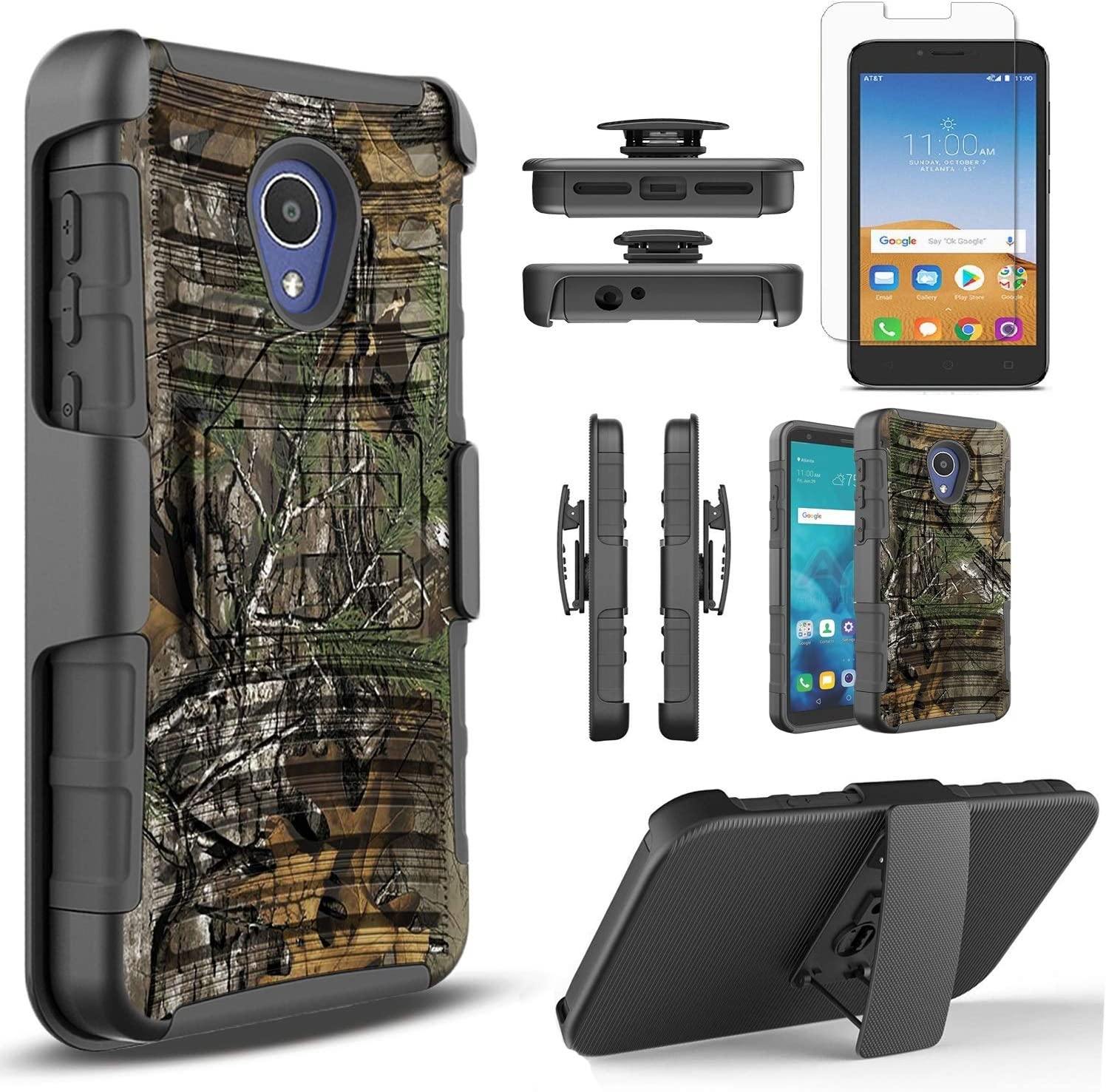 Alcatel Avalon V Phone Case, IdealXtra 5059R Case, 1X Evolve, TCL LX A502DL Case, with[Tempered Glass Screen Protector], Circlemalls Built-in Kickstand Belt Clip Heavy Duty Protective Phone Cover-Cam