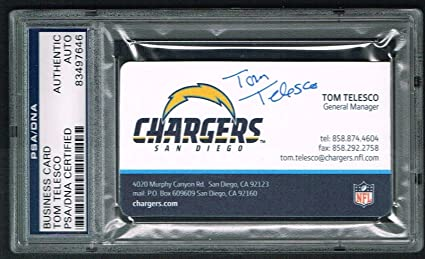 Tom telesco signed autograph business card san diego chargers gm psa tom telesco signed autograph business card san diego chargers gm psa slabbed colourmoves