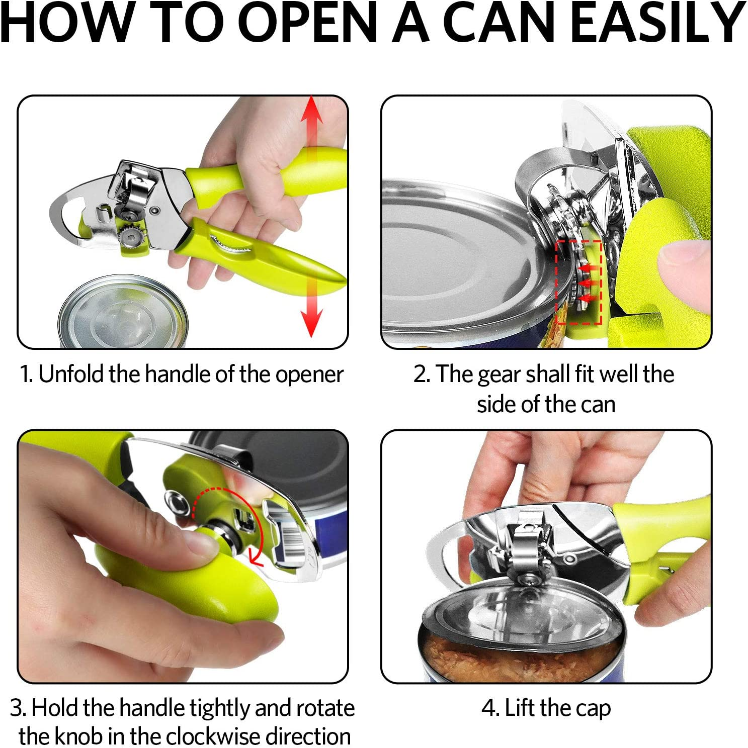 4 in 1 Stainless Steel Tin openers Manual Can Openers Beer and Jar Bottle Openers with Non-Slip Handle and 4 Replaceable Gear-Shaped Blades Green Suitable for Cans