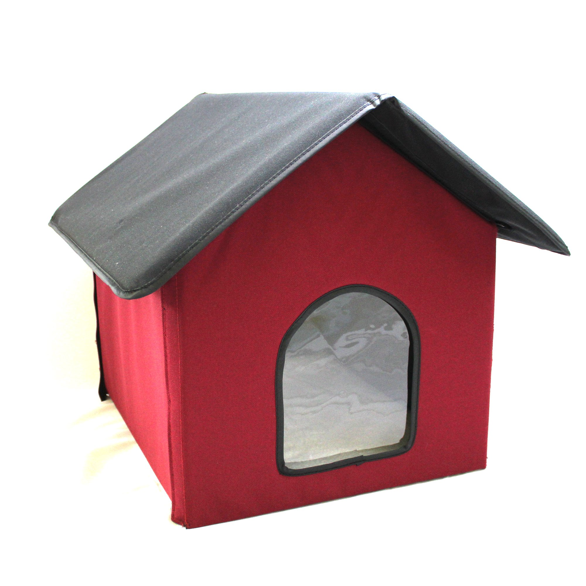 Cell Glove Soft and Safe Warm and Cozy Outdoor Heated Pet Kitty Cat House (Red)