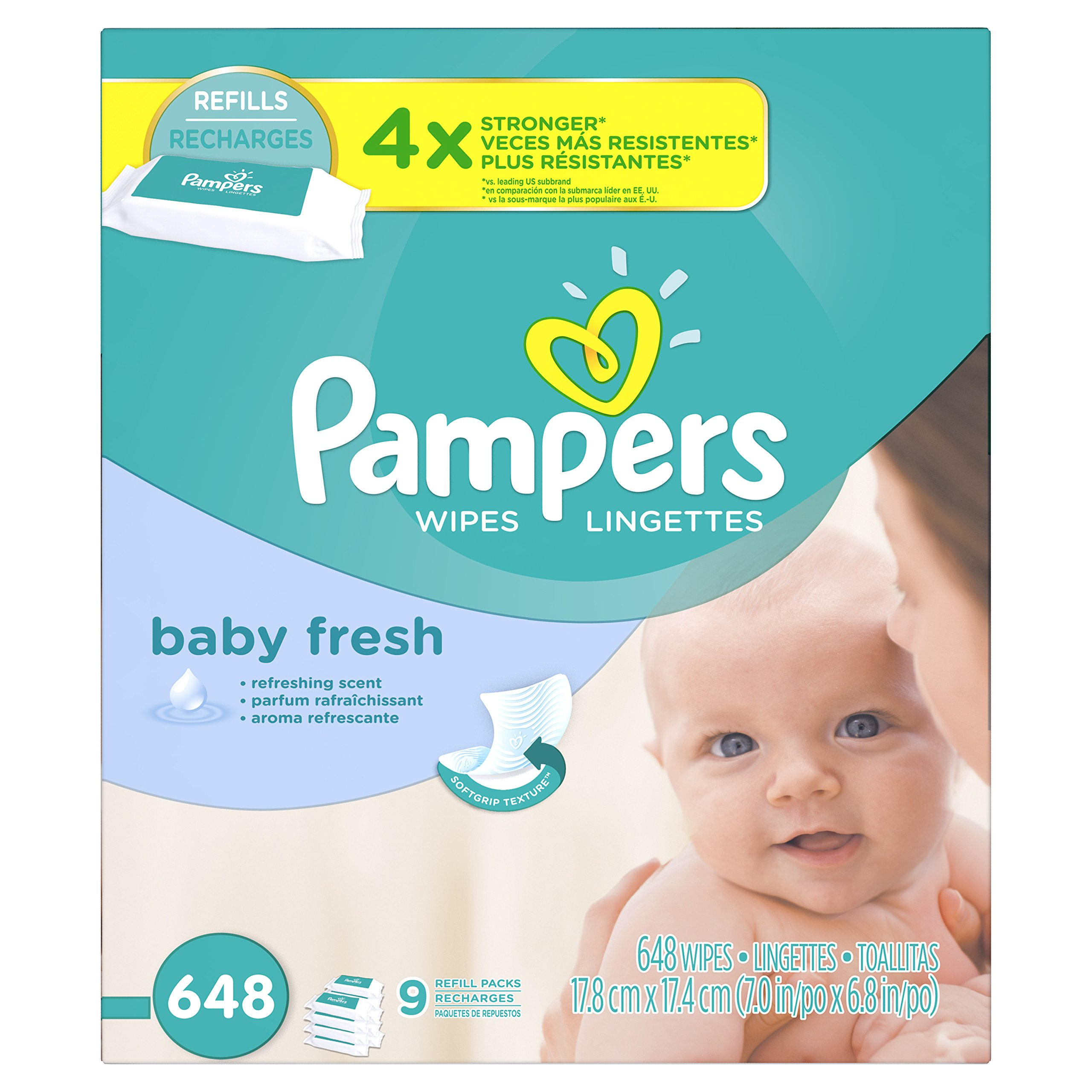 Pampers Baby Fresh Water Baby Wipes 9X Refill Packs, 648 Count by Pampers