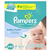 Pampers Baby Fresh Water Baby Wipes 9X Refill Packs, 648 Count