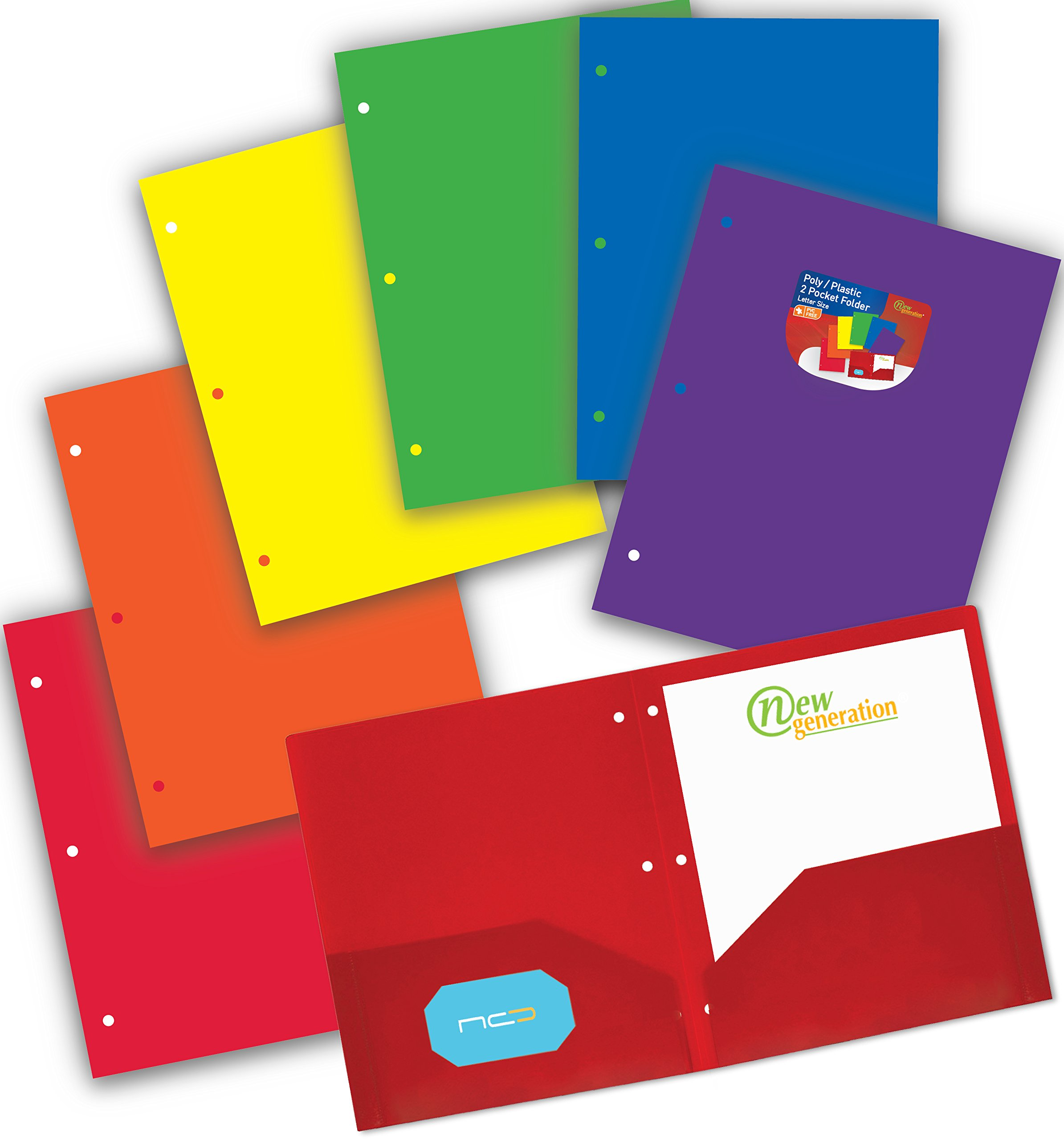 New Generation - ASSORTED FASHION COLORS - 3 HOLE PUNCHED 2 Pocket Poly/Plastic Folder, Heavy Duty Folders For Letter Size Papers, Includes Business Card Slot 6 PACK (6 PACK ASSORTED)