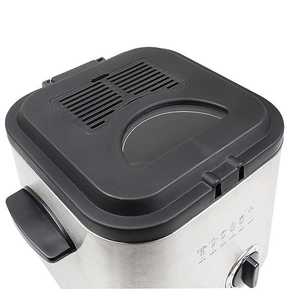 Leogreen - Freidora, Máquina Para Patatas Fritas, Plateado, Easy-open lid, 1.2 Litro(s), Con cesto, Material: Cuerpo principal de acero inoxidable: ...