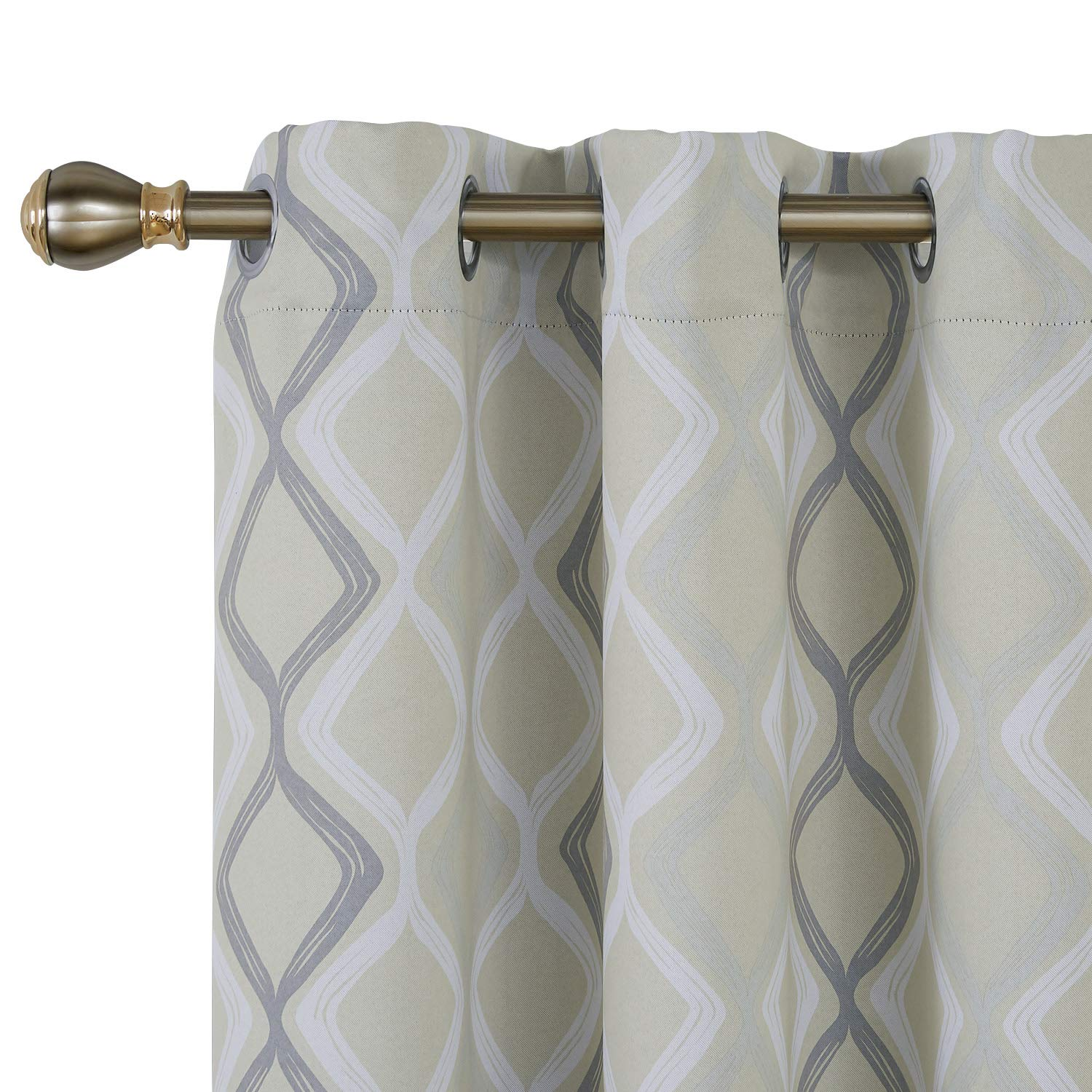 Deconovo Trellis Printed Blackout Curtain with Grommet Top Room Darkeing Curtains for Bedroom 42W x 95L Inch Beige White and Grey One Drape