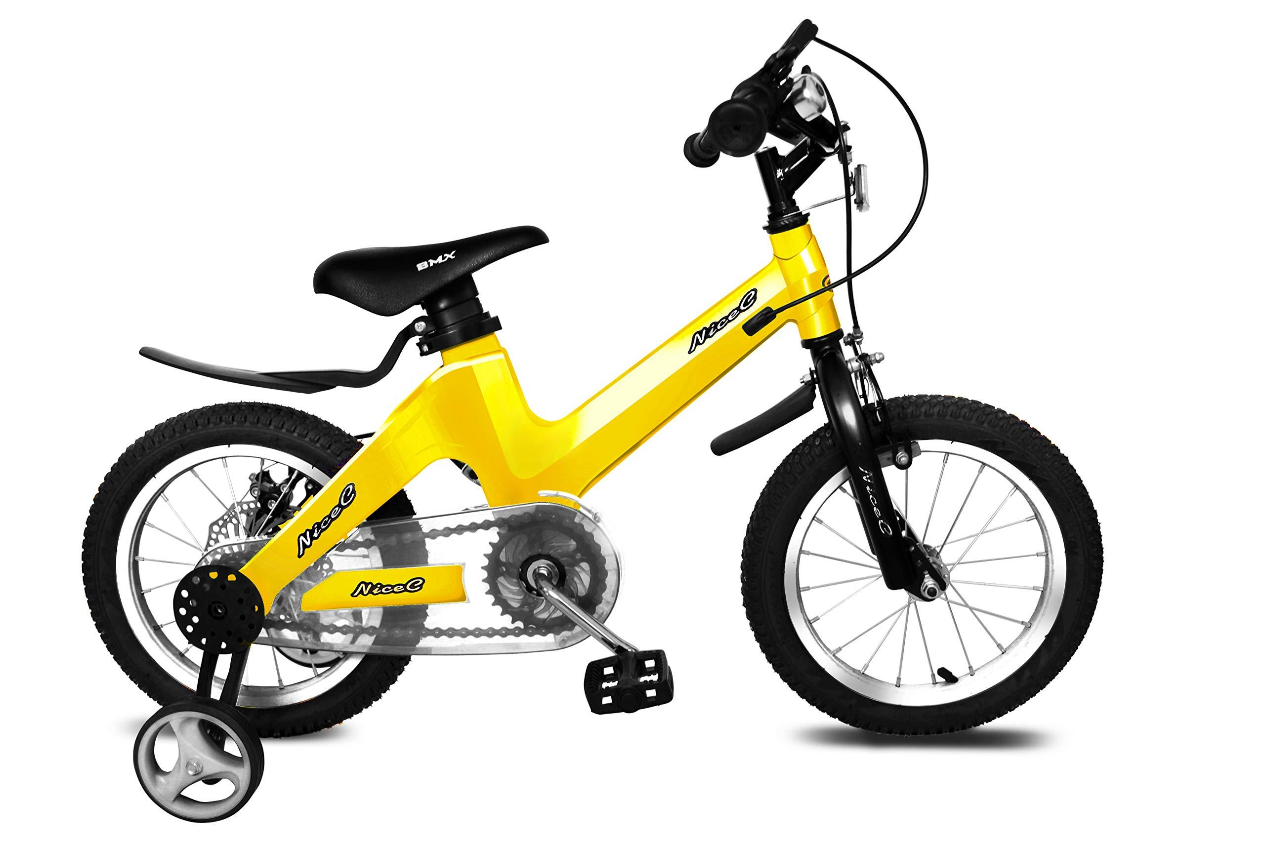 Nice C BMX Kids Bike with Dual Disc Brake for Boy and Girl 12-14-16-18 inch Training Wheels (12'' Yellow)