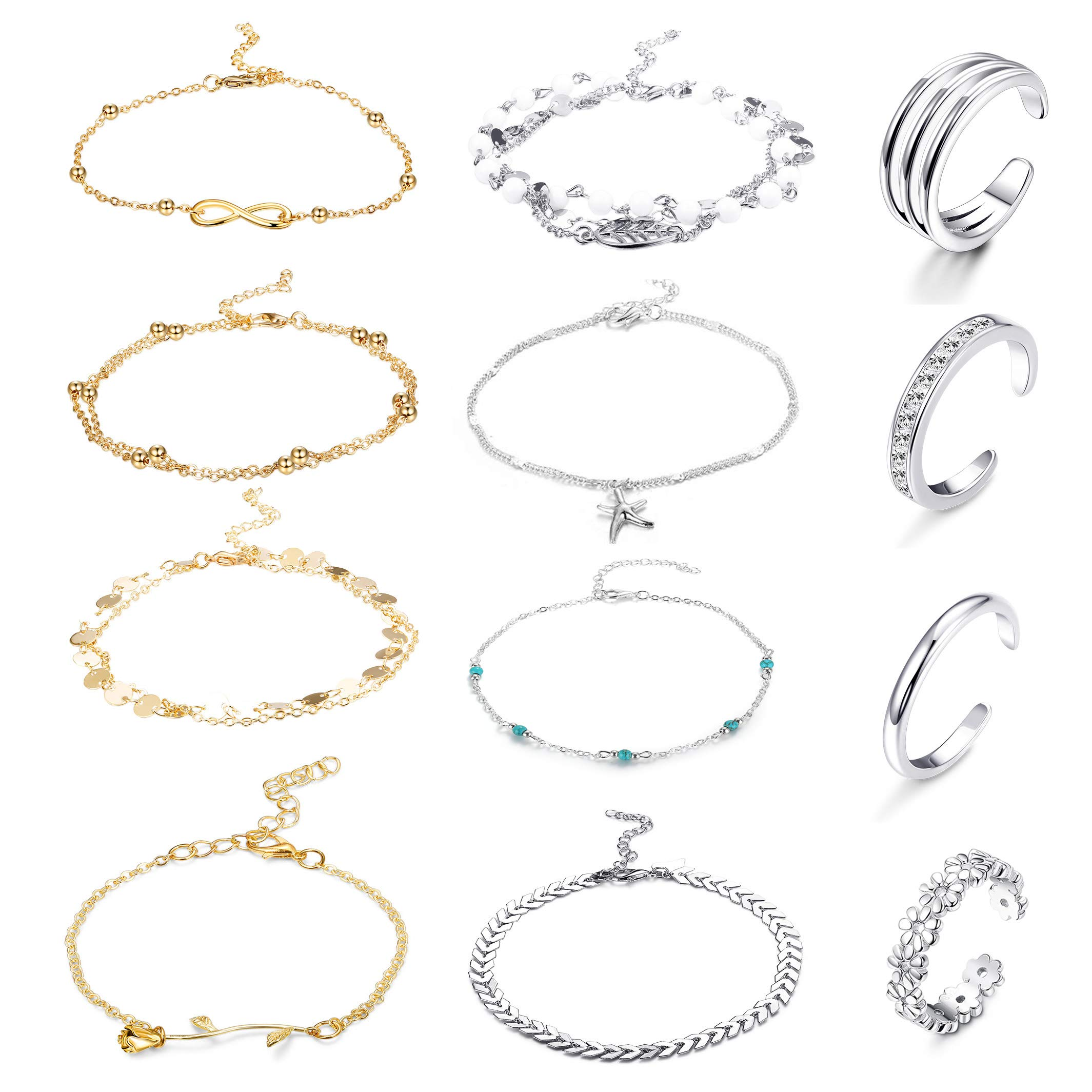 FUNRUN JEWELRY 12PCS Anklet and Toe Ring Set for Women Girls Beach Ankle Bracelets Adjustable Open Toe Ring Foot Jewelry (Color A) by FUNRUN JEWELRY