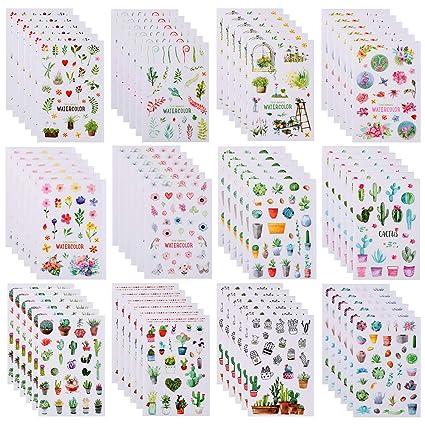 Amazon.com: 72 hojas Cactus pegatinas decorativas de flores ...