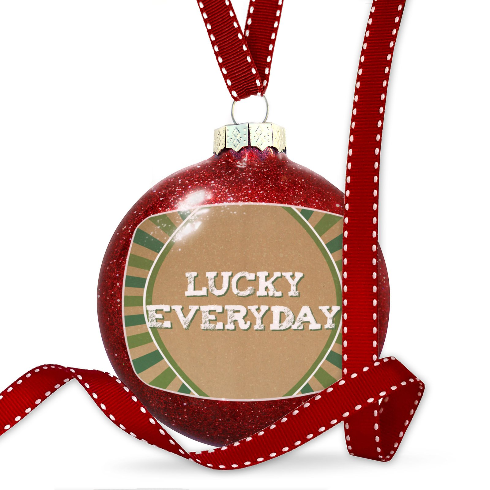 Christmas Decoration Lucky Everyday St. Patrick's Day Retro Design Ornament by NEONBLOND
