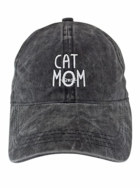 e255d02304c Image Unavailable. Image not available for. Color  Cat Mom Black Cotton  Baseball Cap Hat